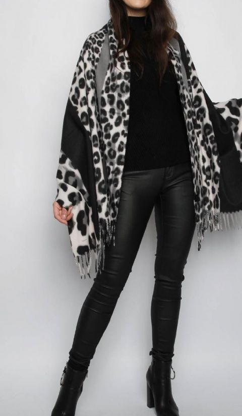 Animal Print Cashmere Scarf Grey